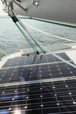 Solar Panels charging batteries aboard sail boat Royalty Free Stock Photography