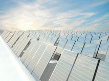 Solar Panels charging in a sunny sky Stock Images