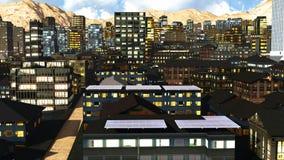 Solar panels in city Stock Photo