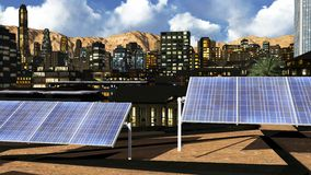 Solar panels in city Royalty Free Stock Photos