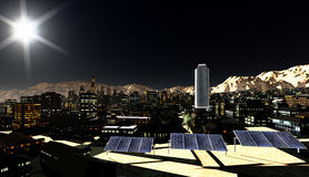 Solar panels in city Royalty Free Stock Photography