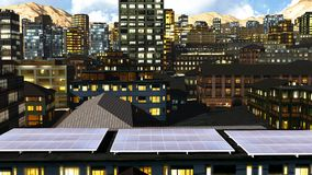 Solar panels in city Stock Image