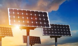 Solar panels close up. On sky background Stock Photo