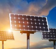 Solar panels close up. On sky background Royalty Free Stock Images