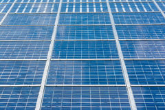 Solar Panels Closeup Blue Technology Clear Sunny Day Clouds Refl Royalty Free Stock Image