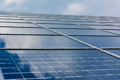 Solar Panels Closeup Blue Technology Clear Sunny Day Clouds Refl. Ection Green Energy Rea Stock Photography