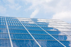 Solar Panels Closeup Blue Technology Clear Sunny Day Clouds Refl. Ection Green Energy Rea Royalty Free Stock Photo