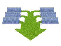 Solar panels conected with grass paths. Forming arrow, isolated on a white background vector illustration