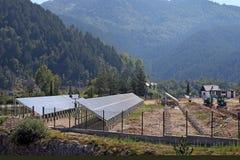 Solar panels construction site Stock Photo