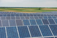 Solar Panels in country field Stock Images