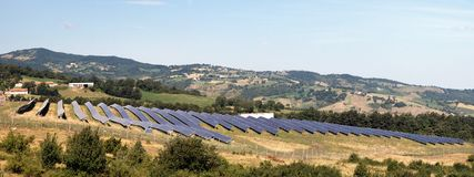 Solar panels in countryside Royalty Free Stock Photo