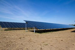 Solar panels in countryside stock image