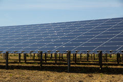 Solar panels in countryside stock photos