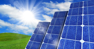 Solar Panels in Countryside Royalty Free Stock Photos