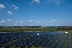 Solar panels in the countryside. stock photo