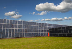 Solar panels cover an entire factory Stock Photo