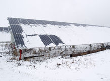Solar panels covered with snow Royalty Free Stock Photos