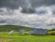 Solar panels in dandelion field. Solar panels on green suburban landscape Royalty Free Stock Image
