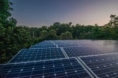 Solar panels at dawn. Blue solar panels at sunrise in Florida royalty free stock photography