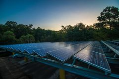 Solar panels at dawn stock images