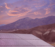 Solar Panels in Death Valley at Sunset Royalty Free Stock Image