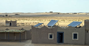 Solar panels in desert royalty free stock photography