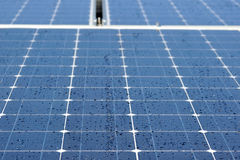 Solar panels in dew Royalty Free Stock Photos