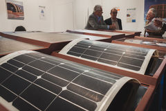 Solar panels on display at Solarexpo 2014 in Milan, Italy Stock Images