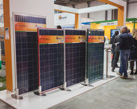 Solar panels on display at Solarexpo 2014 in Milan, Italy Royalty Free Stock Photography