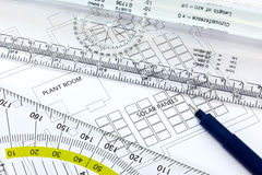 Solar panels drawing with pen and ruler Stock Images