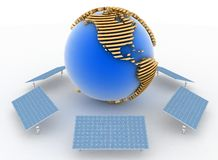Solar Panels and earth. Alternative Energy Concept Stock Images