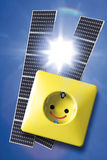 Solar panels, electric socket and power poles Stock Photo