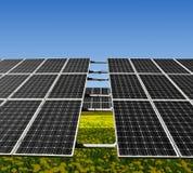 Solar panels. Solar energy panels on meadow Stock Photos
