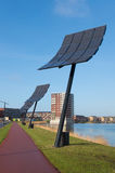Solar panels. Entrance of Heerhugowaard in the netherlands, the city of the sun. It is the largest energy neutral residential area in the world. It produces as Royalty Free Stock Photo
