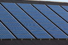 Solar panels on family houses Stock Photo
