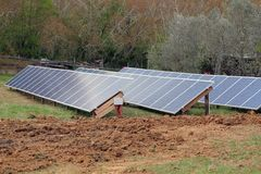 Solar panels in a feild Stock Photography