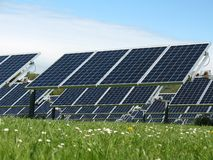 Solar panels in a field Royalty Free Stock Photos