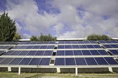 Solar panels on field Royalty Free Stock Photo
