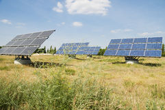 Solar panels on field Stock Photography