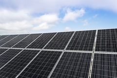 Solar panels. Field with many solar panels in front of a blue sky Royalty Free Stock Photography