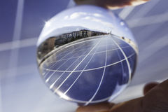 Solar panels field and roof Stock Image