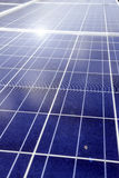 Solar panels field and roof Stock Photos