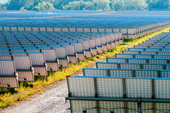 Solar panels field a sunny day Royalty Free Stock Image