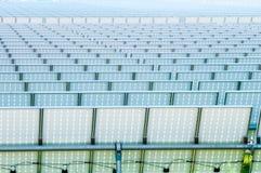 Solar panels field a sunny day Stock Photo