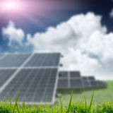 Solar panels on the field Royalty Free Stock Image