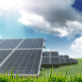 Solar panels on the field Stock Images