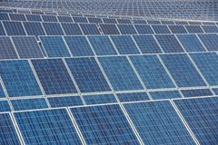 Solar Panels field. Thousands of solar panel are instaled in a countryfields near Giurgiu, Romania Stock Photo