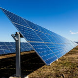 Solar panels in the fields Royalty Free Stock Photography