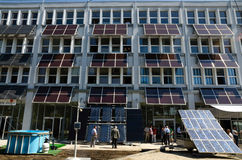 Solar panels. A fleet of solar panels on a building made royalty free stock photos