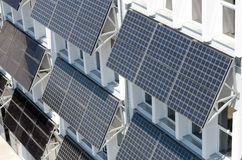 Solar panels. A fleet of solar panels on a building made royalty free stock photo